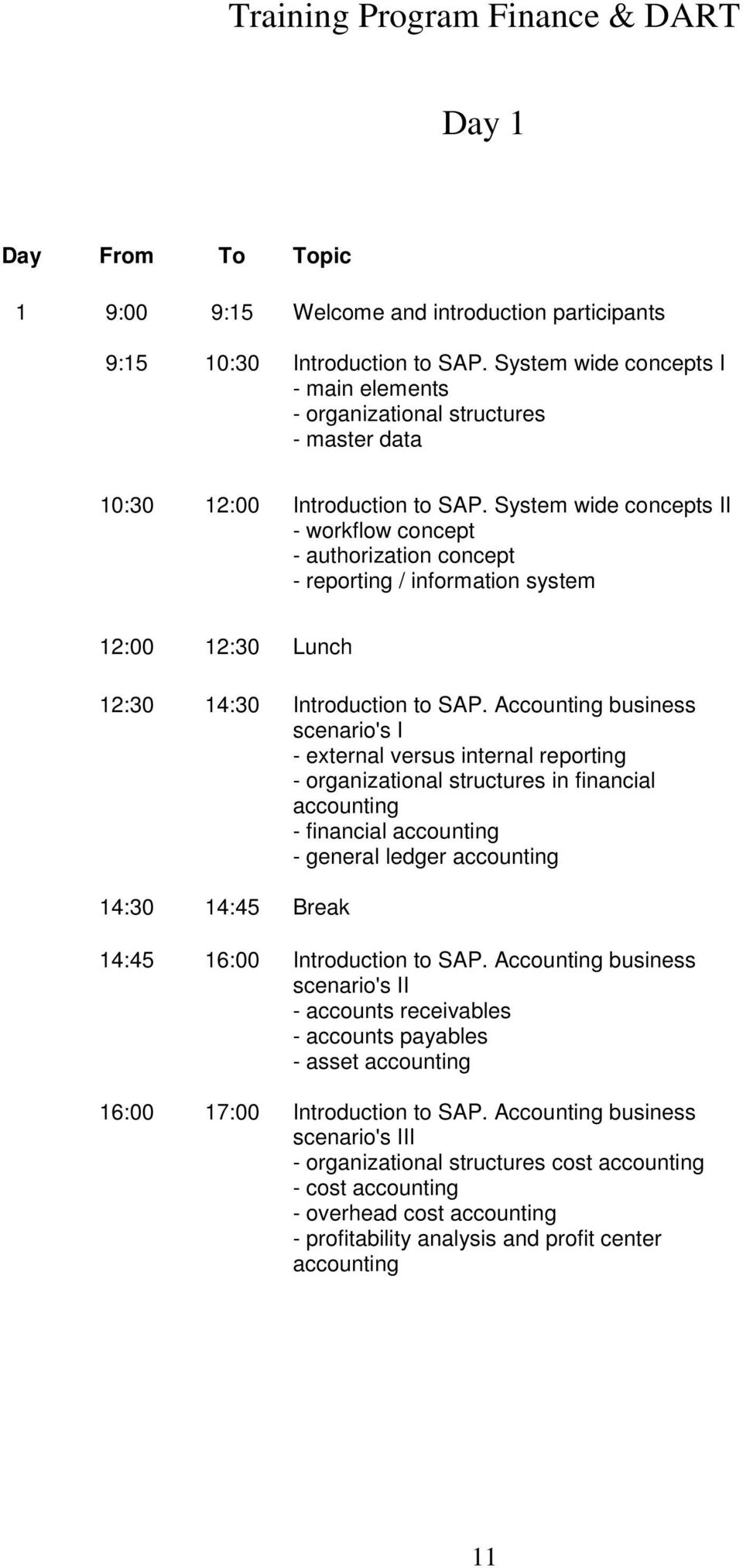 System wide concepts II - workflow concept - authorization concept - reporting / information system 12:30 14:30 Introduction to SAP.