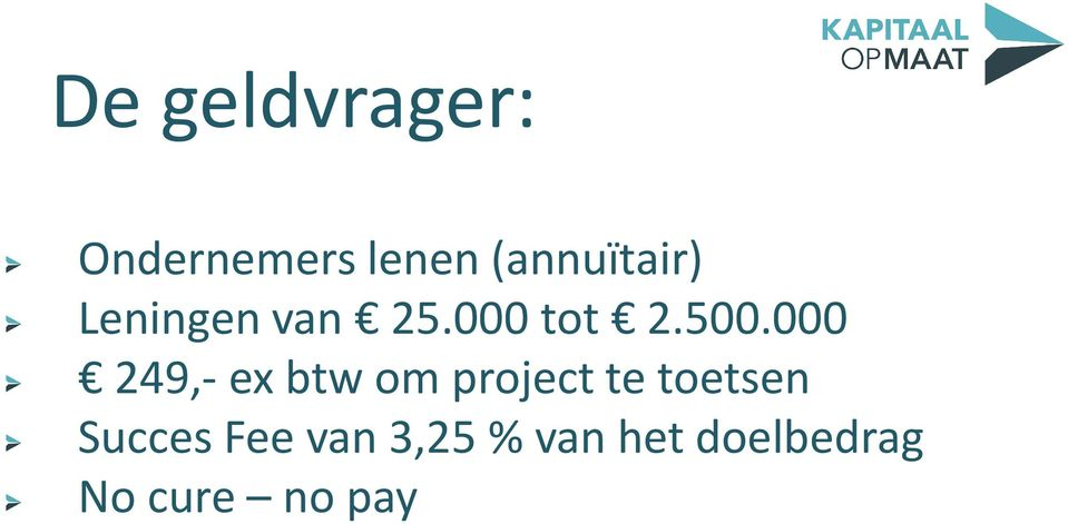 000 249,- ex btw om project te toetsen