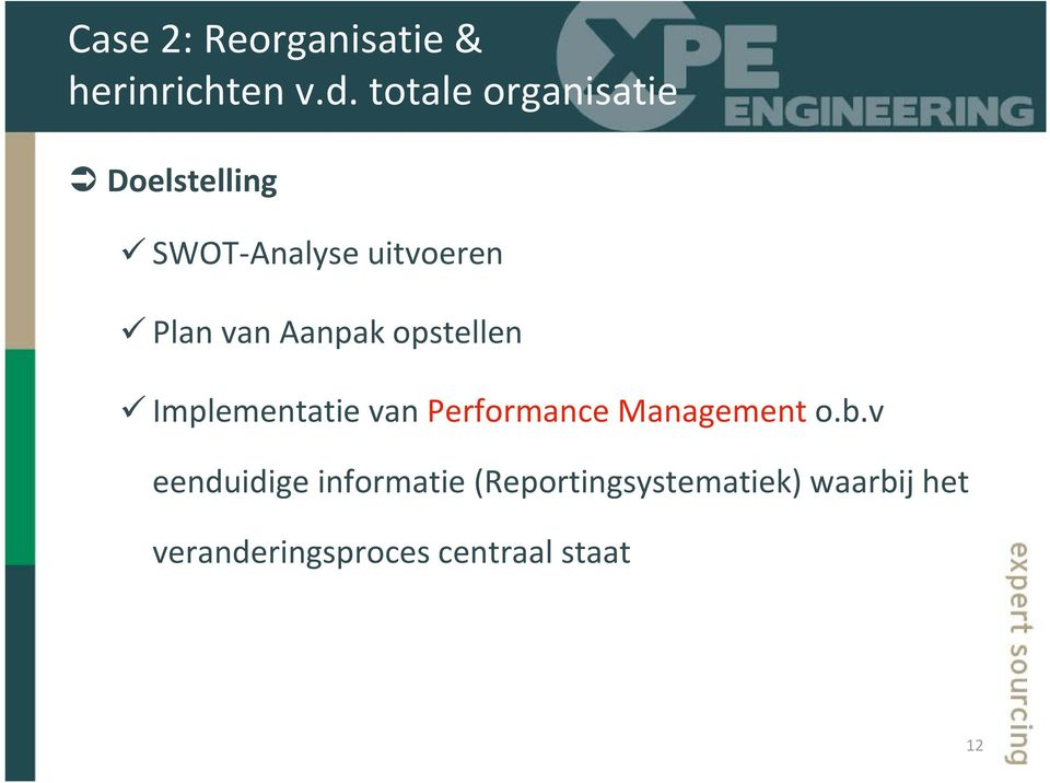 Aanpak opstellen Implementatie van Performance Management o.b.
