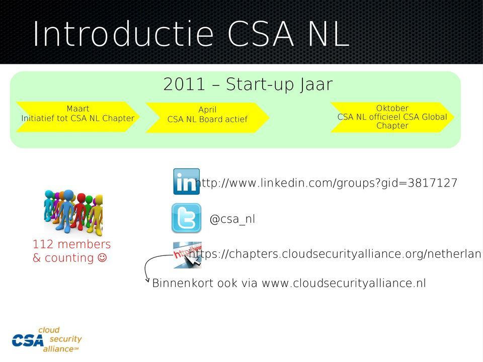 linkedin.com/groups?gid=3817127 @csa_nl 112 members & counting https://chapters.