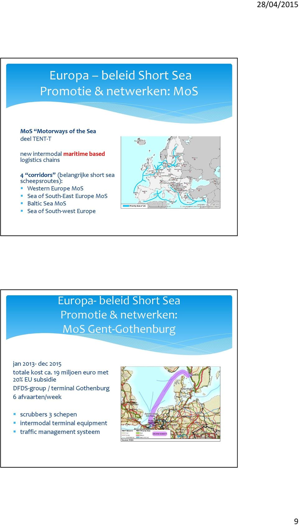 Europe Europa- beleid Short Sea Promotie & netwerken: MoS Gent-Gothenburg jan 2013- dec 2015 totale kost ca.