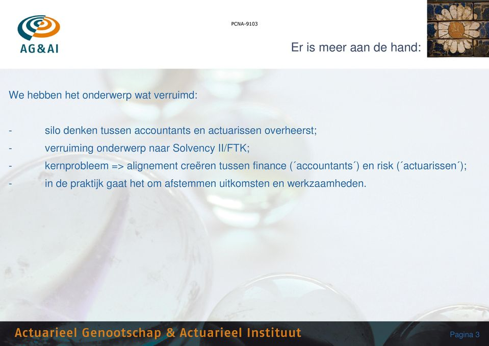 kernprobleem => alignement creëren tussen finance ( accountants ) en risk (