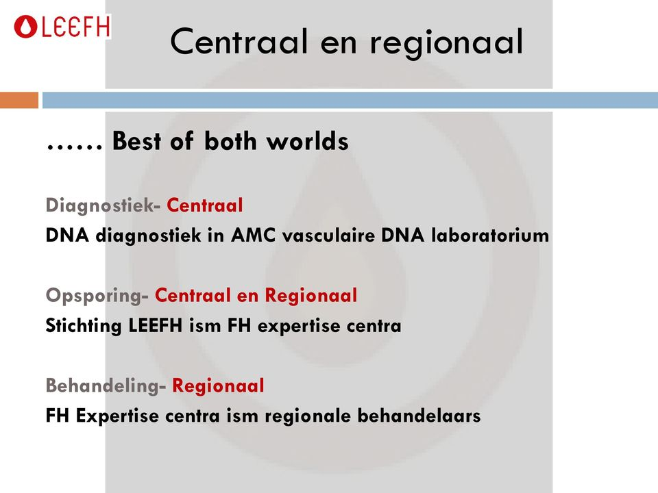 Centraal en Regionaal Stichting LEEFH ism FH expertise centra