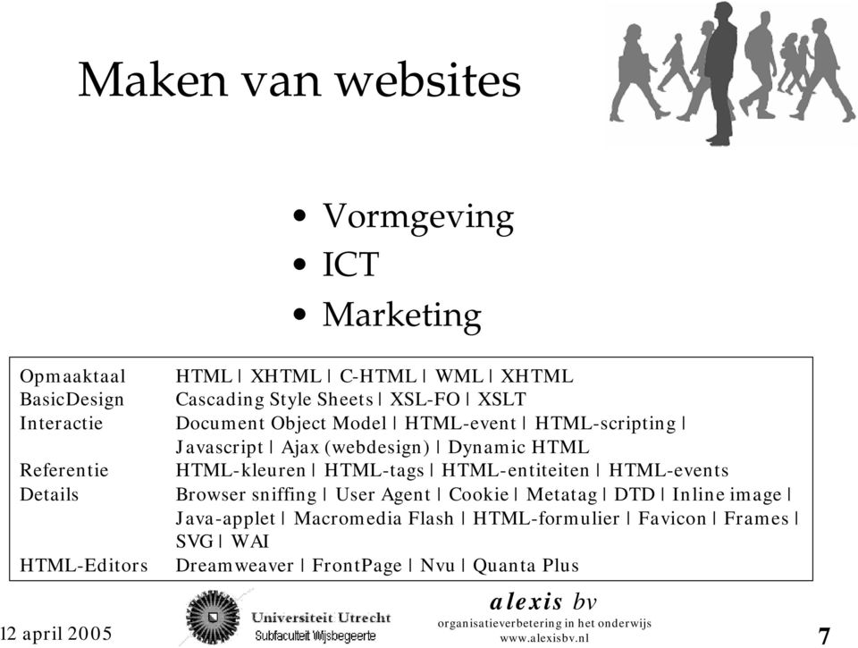 Referentie HTML-kleuren HTML-tags HTML-entiteiten HTML-events Details Browser sniffing User Agent Cookie Metatag DTD