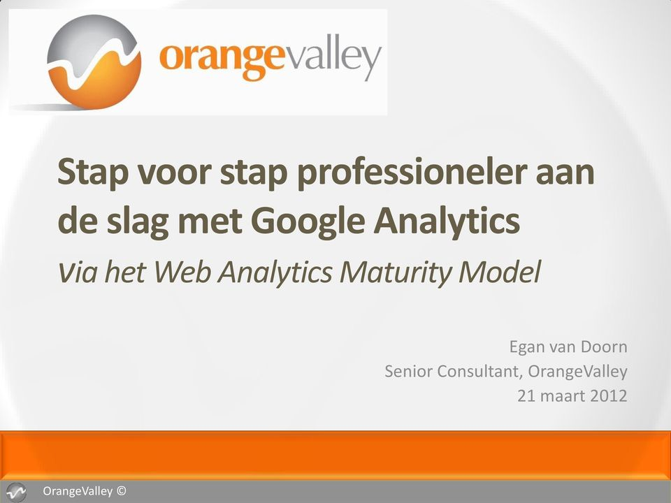Analytics Maturity Model Egan van Doorn