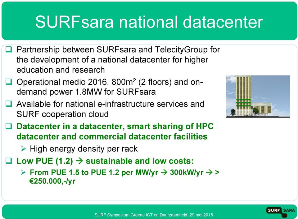 Operational medio 2016, 800m 2 (2 floors) and ondemand power 1.8MW for SURFsara!