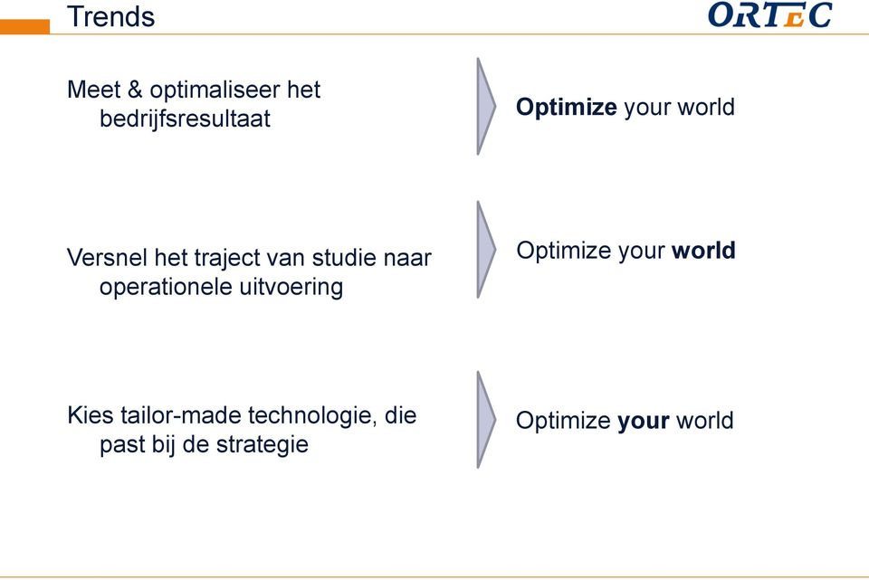 operationele uitvoering Optimize your world Kies