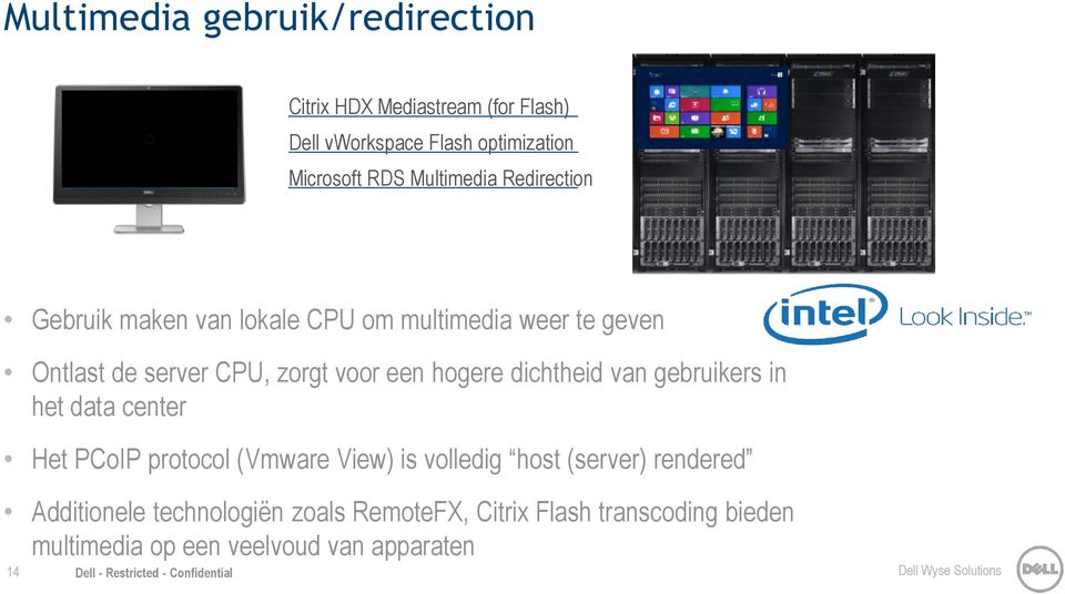 gebruikers in het data center Het PCoIP protocol (Vmware View) is volledig host (server) rendered Additionele technologiën zoals