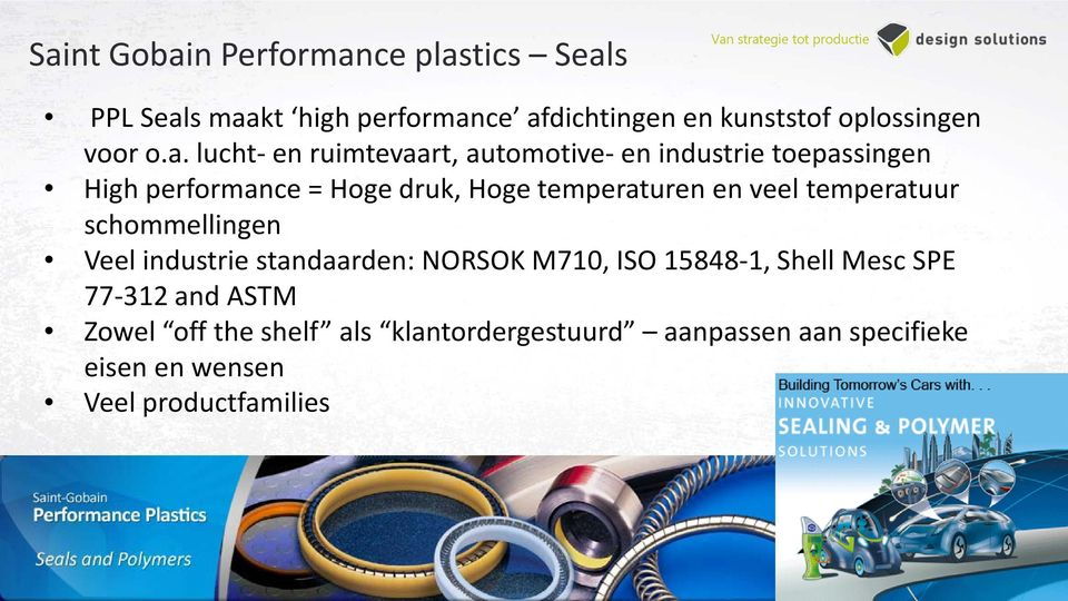 lucht- en ruimtevaart, automotive- en industrie toepassingen High performance = Hoge druk, Hoge temperaturen en
