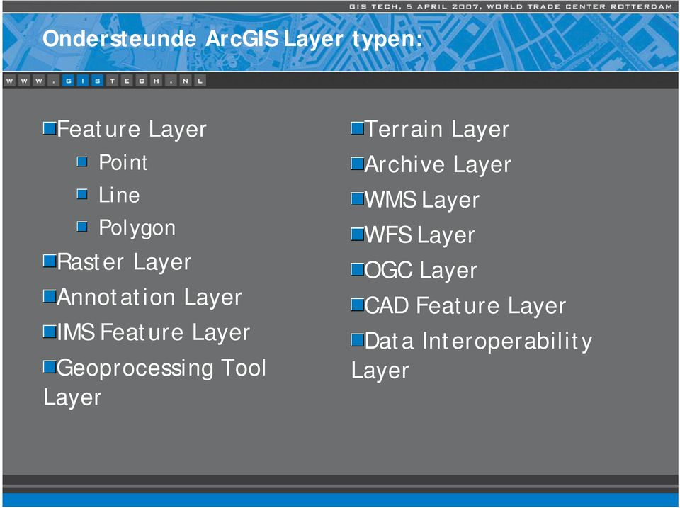 Geoprocessing Tool Layer Terrain Layer Archive Layer WMS
