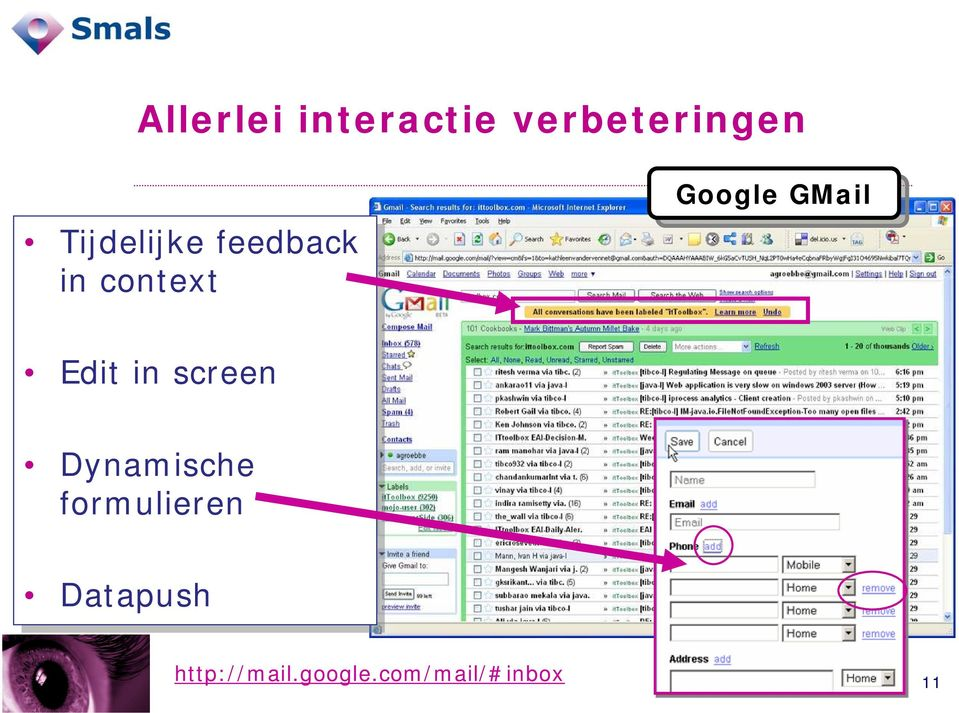 GMail Edit in in screen Dynamische