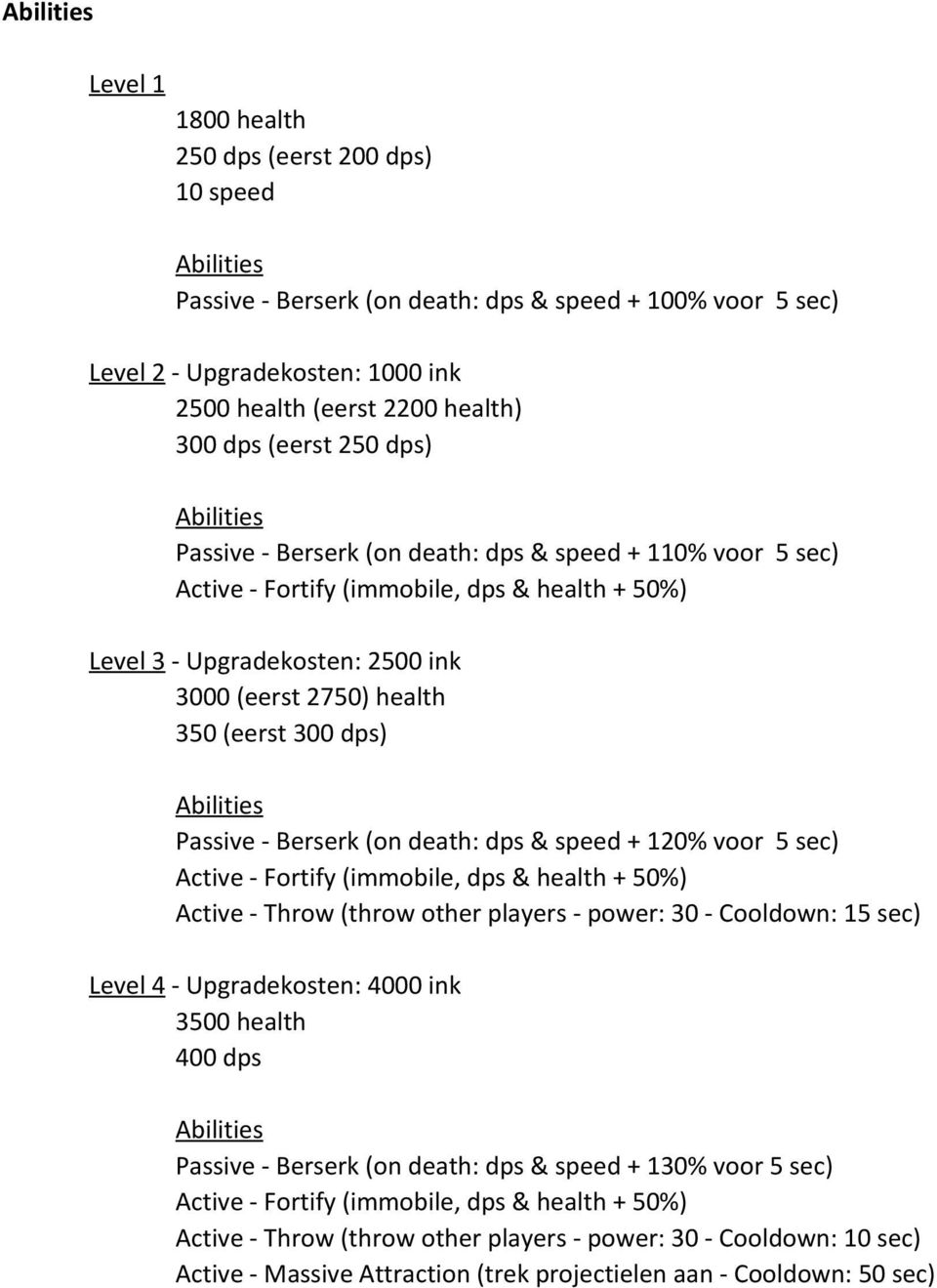 health 350 (eerst 300 dps) Abilities Passive - Berserk (on death: dps & speed + 120% voor 5 sec) Active - Fortify (immobile, dps & health + 50%) Active - Throw (throw other players - power: 30 -