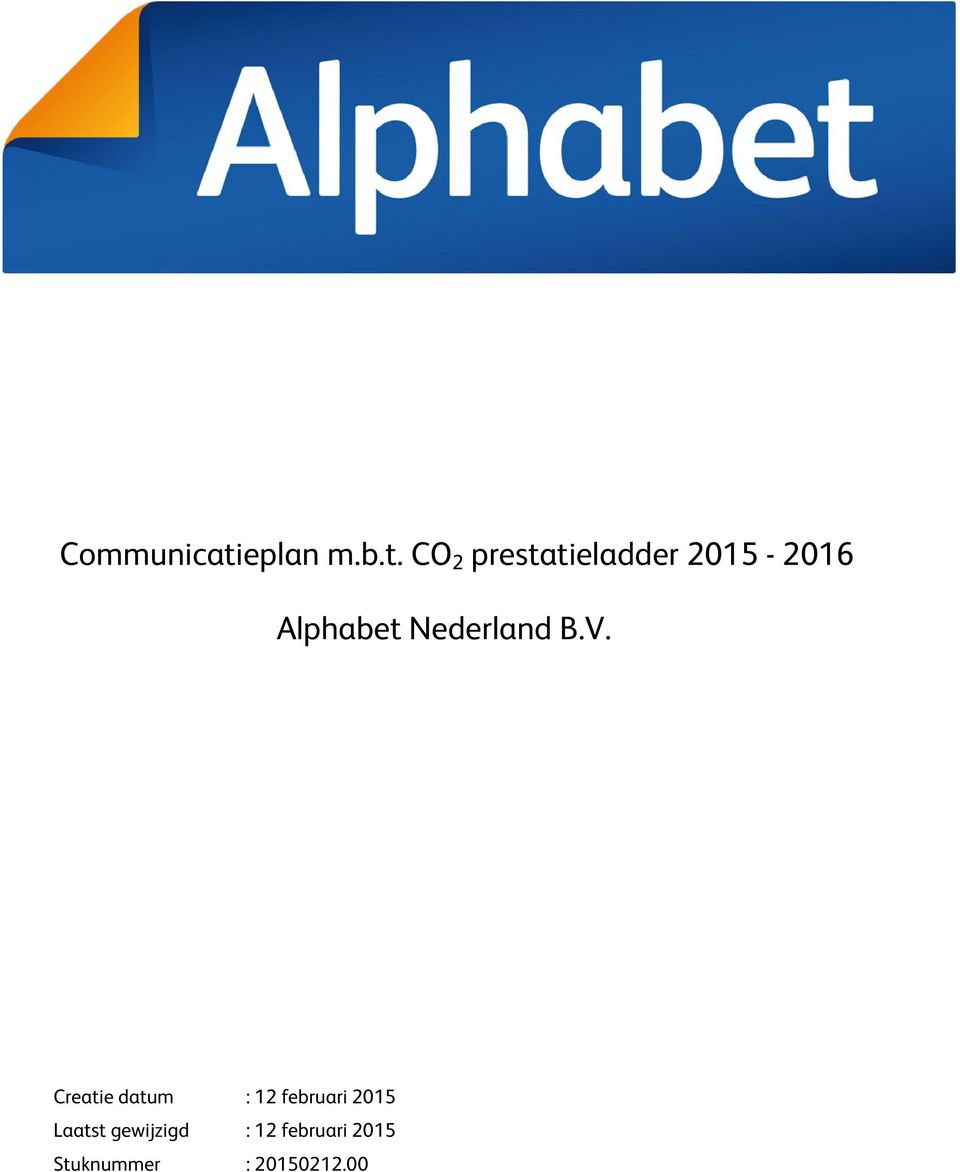 CO 2 prestatieladder 2015-2016 Alphabet