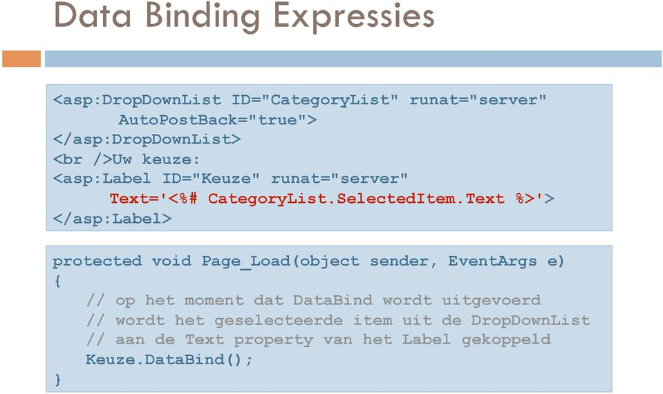 Text %>'> </asp:label> protected void Page_Load(object sender, EventArgs e) { // op het moment dat DataBind