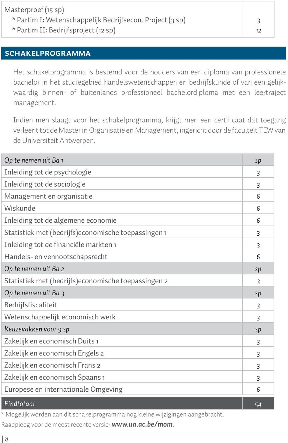 handelswetenschappen en bedrijfskunde of van een gelijkwaardig binnen- of buitenlands professioneel bachelordiploma met een leertraject management.