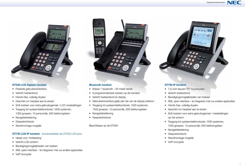 DT330 LCD plus: Ideaal voor hotdesking Verlicht LCD-scherm Beveiligingsmogelijkheden van toetsen XML open interface te integreren met uw andere applicaties VoIP encryptie Bluetooth handset Klasse 1