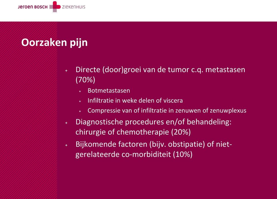 van of infiltratie in zenuwen of zenuwplexus + Diagnostische procedures en/of