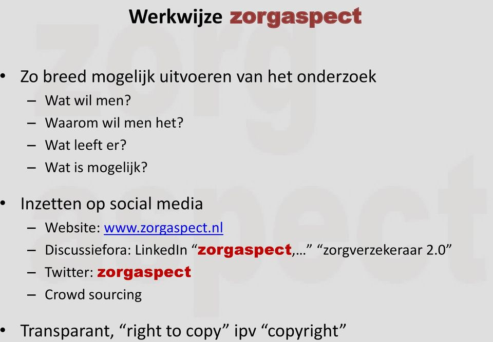 Inzetten op social media Website: www.zorgaspect.