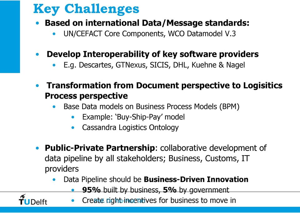 standards: UN/CEFACT Core Components, WCO Datamodel V.3 Develop Interoperability of key software providers E.g.