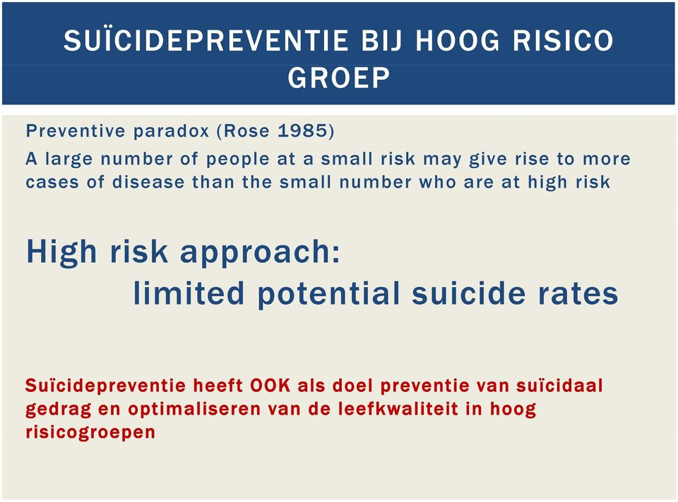 at high risk High risk approach: limited potential suicide rates Suïcidepreventie heeft OOK