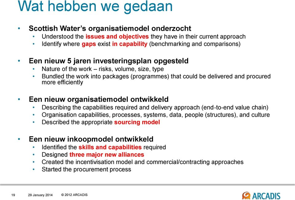 efficiently Een nieuw organisatiemodel ontwikkeld Describing the capabilities required and delivery approach (end-to-end value chain) Organisation capabilities, processes, systems, data, people