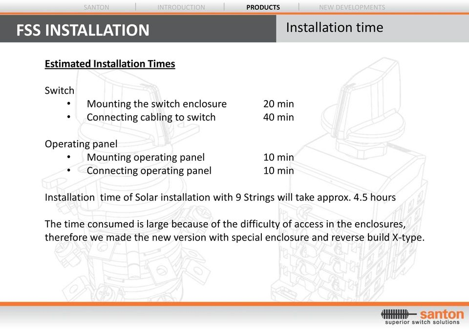Installation time Installation time of Solar installation with 9 Strings will take approx. 4.