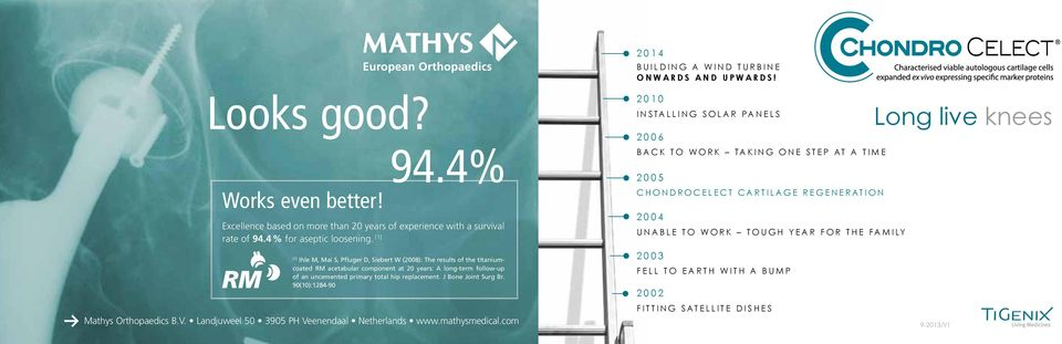 J Bone Joint Surg Br. 90(10):1284-90 Mathys Orthopaedics B.V. Landjuweel 50 3905 PH Veenendaal Netherlands www.mathysmedical.