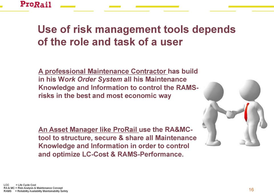 ProRail use the RA&MCtool to structure, secure & share all Maintenance Knowledge and Information in order to control and optimize LC-Cost