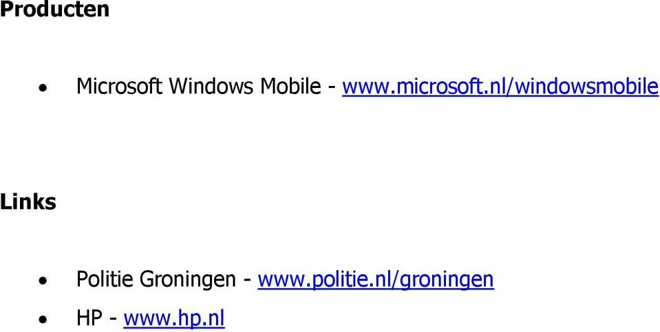 nl/windowsmobile Links Politie