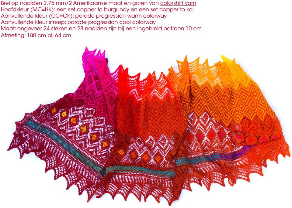 progression warm colorway Aanvullende kleur streep: parade progression cool colorway Maat: