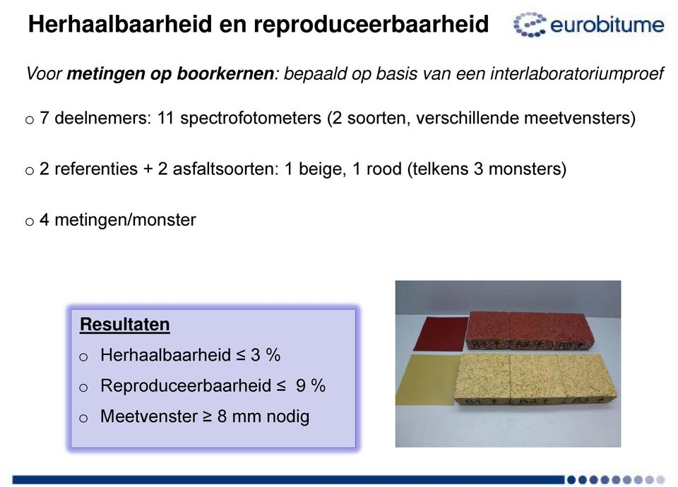 meetvensters) o 2 referenties + 2 asfaltsoorten: 1 beige, 1 rood (telkens 3 monsters) o 4
