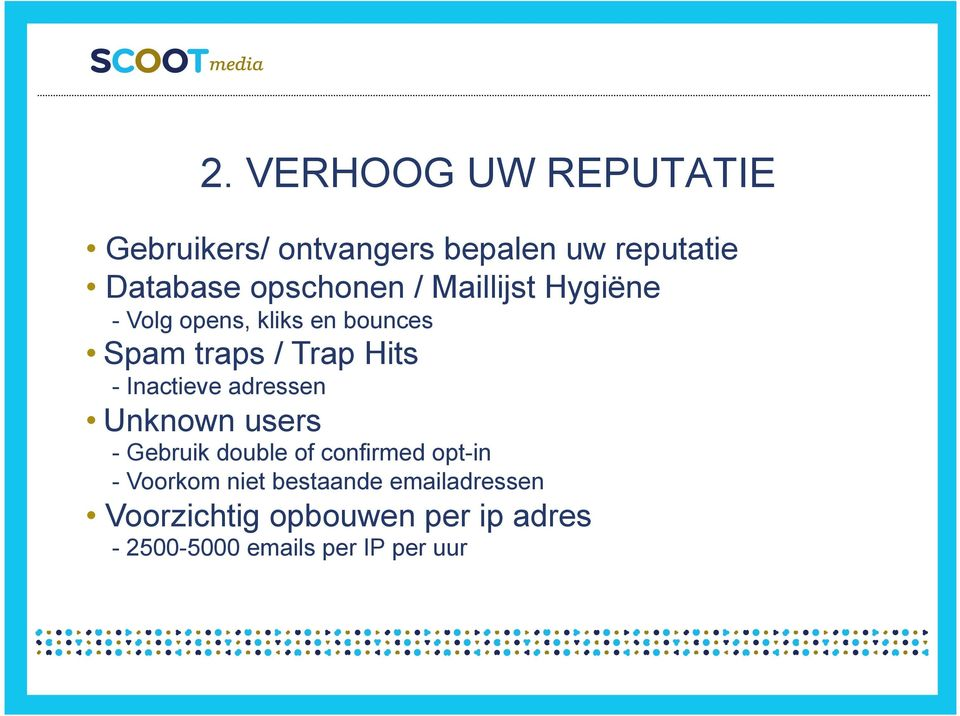 - Inactieve adressen Unknown users - Gebruik double of confirmed opt-in - Voorkom
