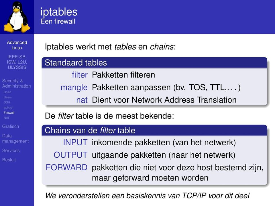 .. ) nat Dient voor Network Address Translation De filter table is de meest bekende: Chains van de filter table INPUT inkomende