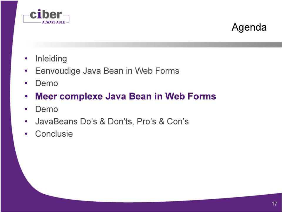 Bean in Web Forms Demo JavaBeans Do s