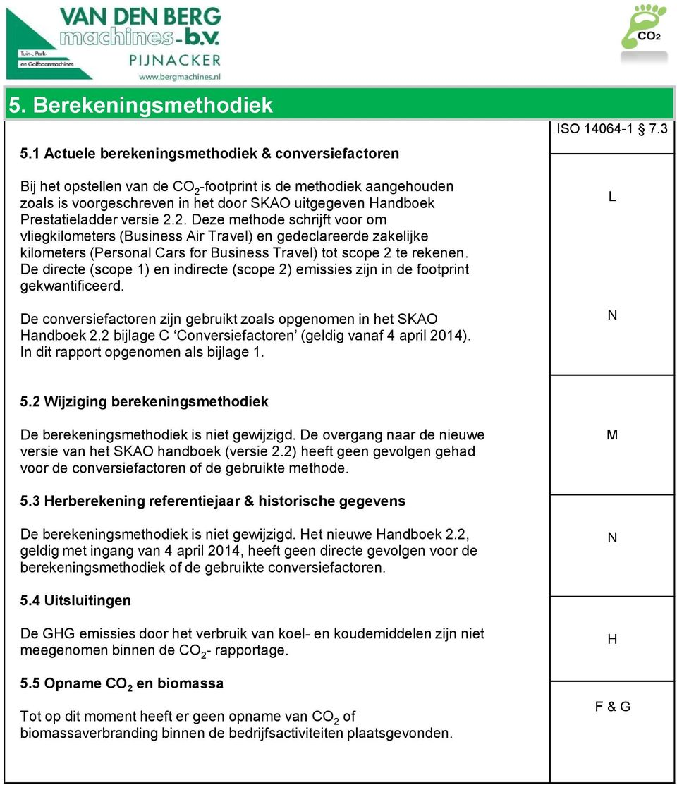 versie 2.2. Deze methode schrijft voor om vliegkilometers (Business Air Travel) en gedeclareerde zakelijke kilometers (Personal Cars for Business Travel) tot scope 2 te rekenen.