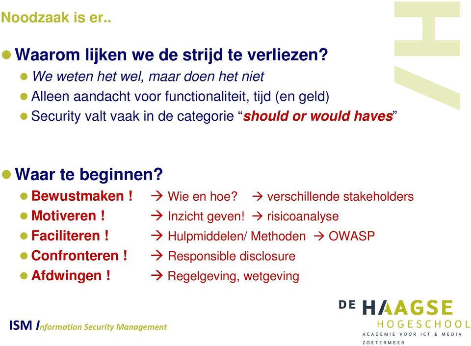 vaak in de categorie should or would haves Waar te beginnen? Bewustmaken! Motiveren! Faciliteren!