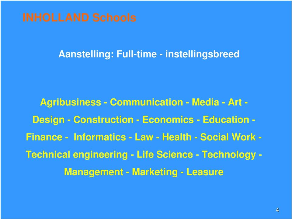Education - Finance - Informatics - Law - Health - Social Work -