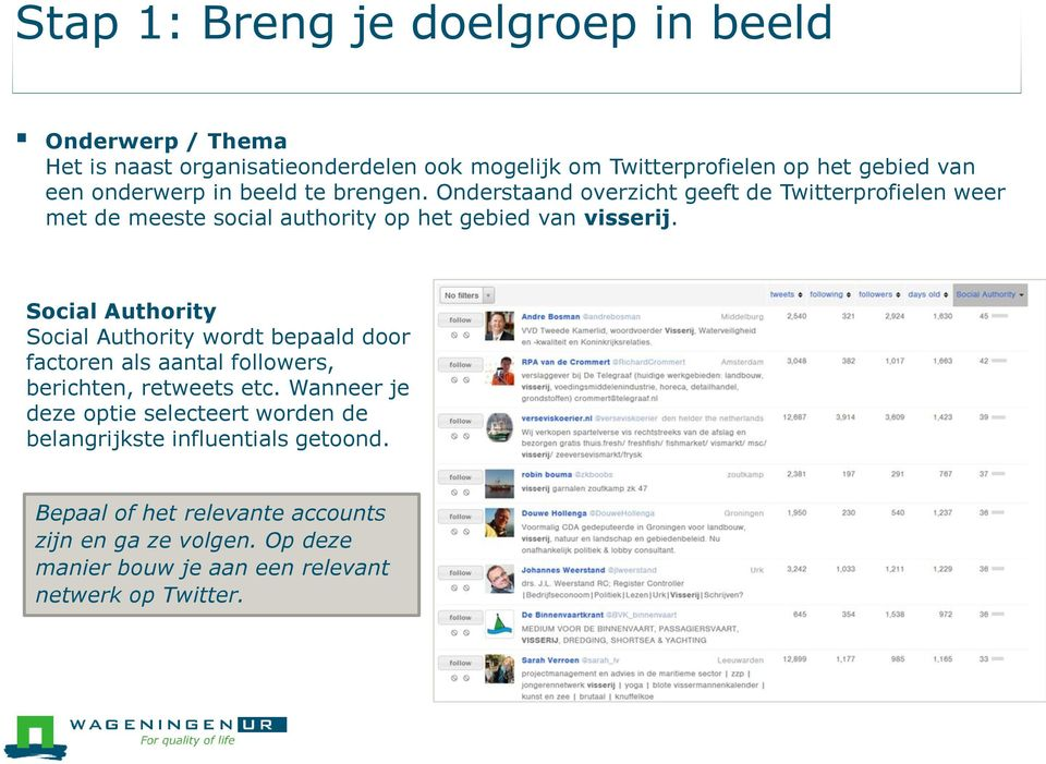 Social Authority Social Authority wordt bepaald door factoren als aantal followers, berichten, retweets etc.