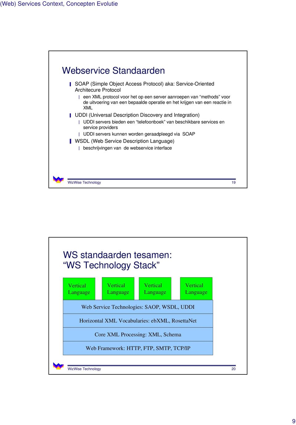 services en service providers UDDI servers kunnen worden geraadpleegd via SOAP WSDL (Web Service Description Language) beschrijvingen van de webservice interface WizWise Technology 19 WS standaarden