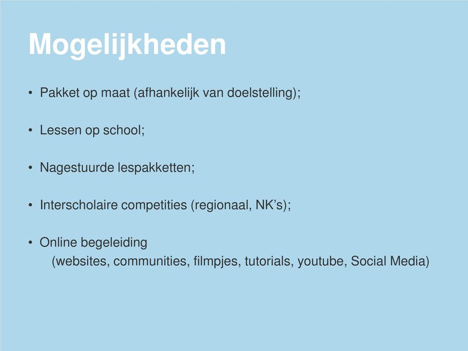 Interscholaire competities (regionaal, NK s); Online