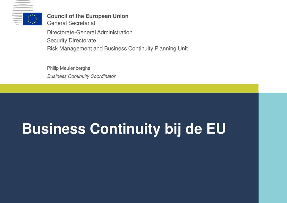 Management and Business Continuity Planning Unit Philip