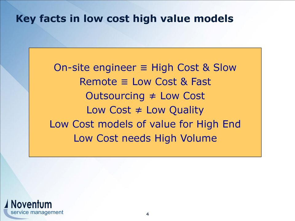Outsourcing Low Cost Low Cost Low Quality Low Cost