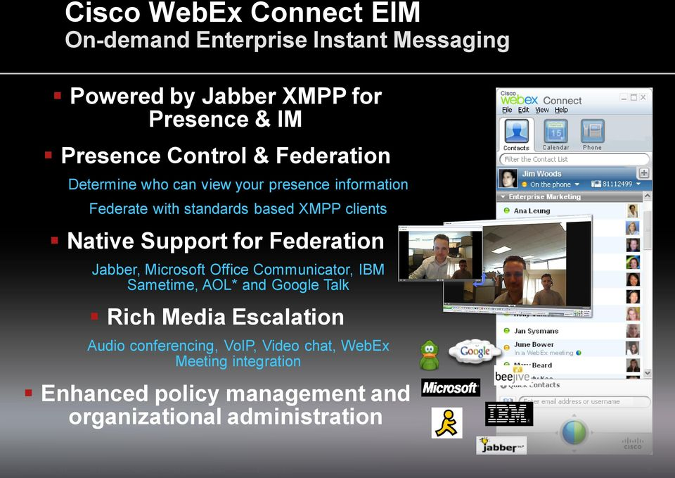 Support for Federation Jabber, Microsoft Office Communicator, IBM Sametime, AOL* and Google Talk Rich Media Escalation