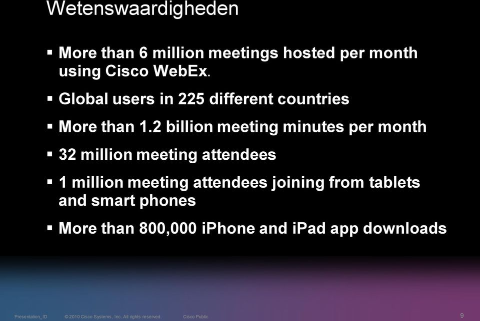 2 billion meeting minutes per month 32 million meeting attendees 1 million
