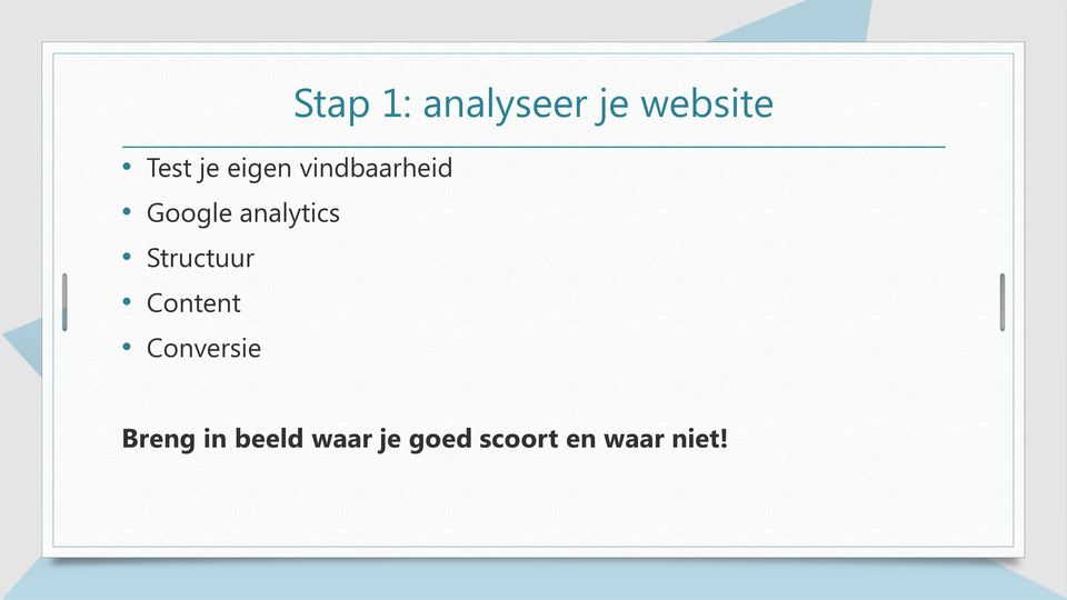 Stap 1: analyseer je website Breng in