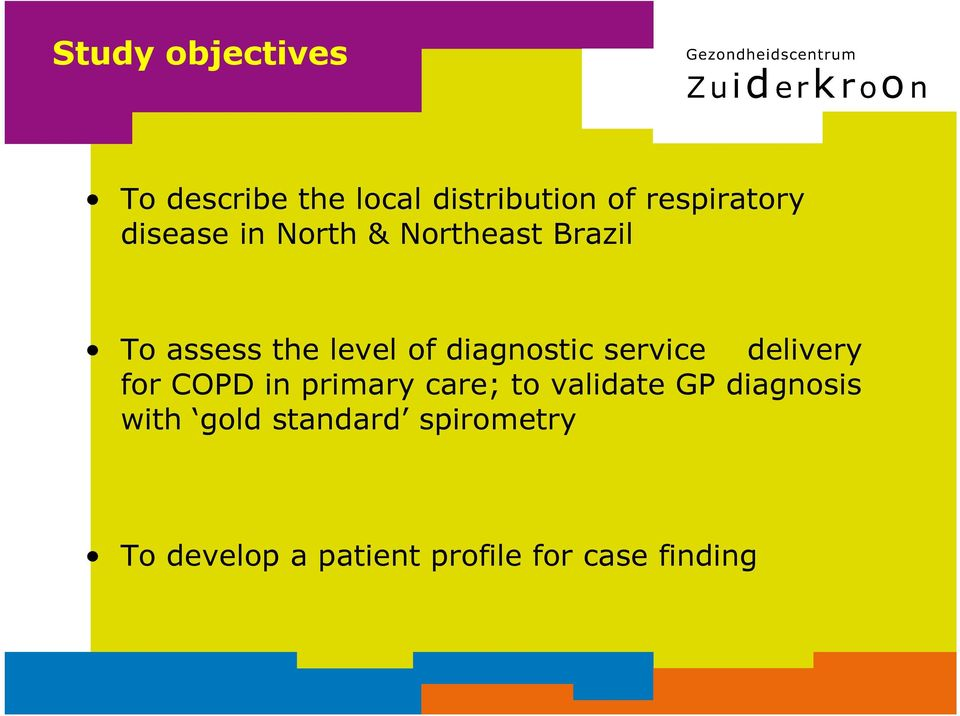 service delivery for COPD in primary care; to validate GP diagnosis