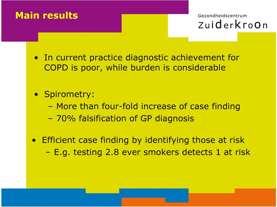 case finding 70% falsification of GP diagnosis Efficient case finding by