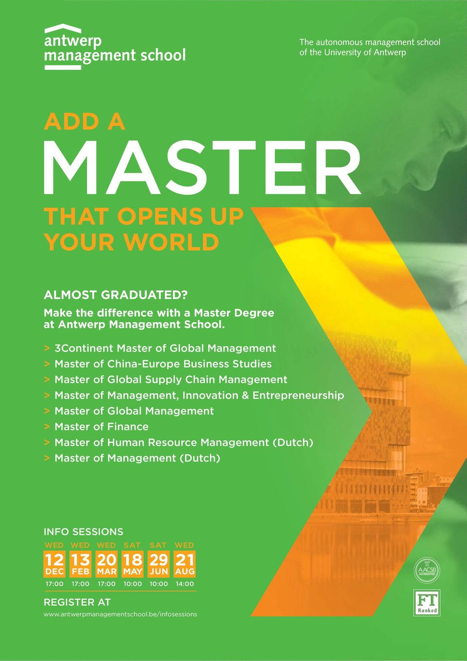 Innovation & Entrepreneurship > Master of Global Management > Master of Finance > Master of Human Resource Management (Dutch) > Master of Management
