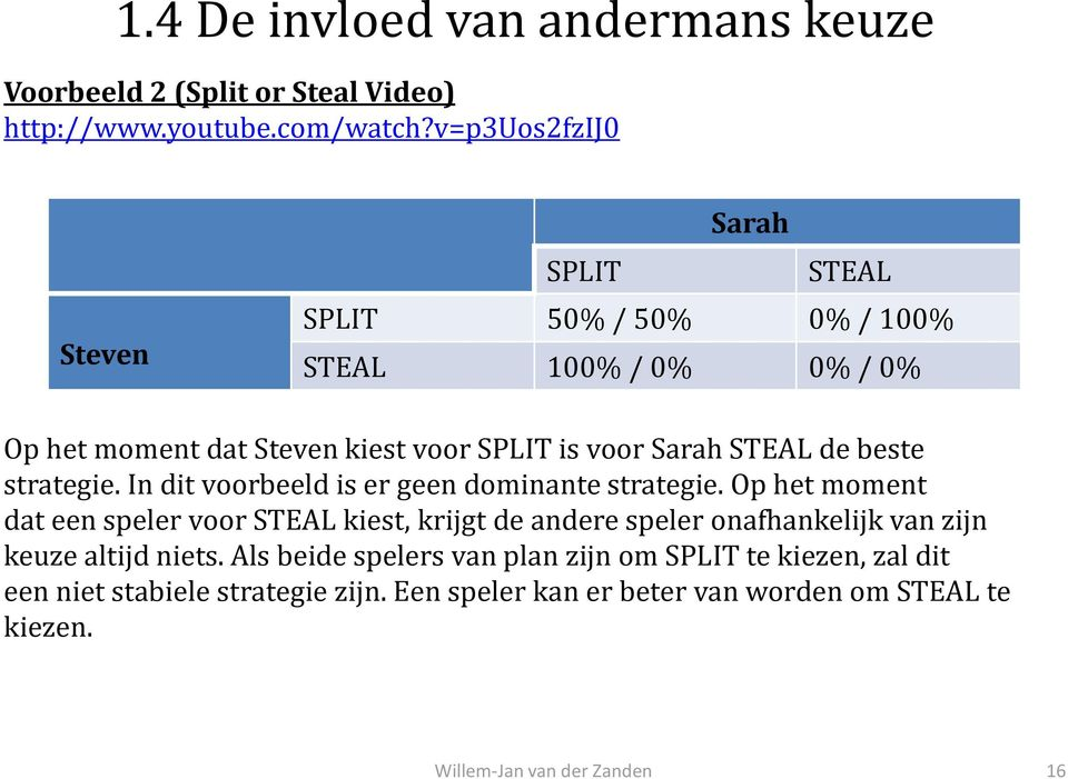 STEAL de beste strategie. In dit voorbeeld is er geen dominante strategie.