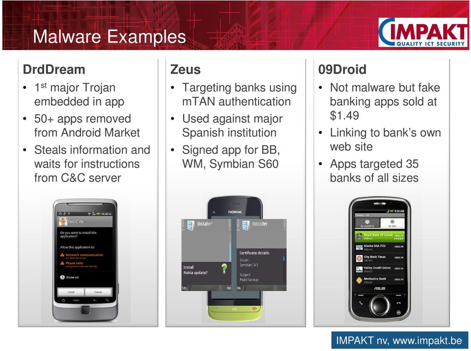 institution Signed app for BB, WM, Symbian S60 09Droid Not malware but fake banking apps sold at $1.